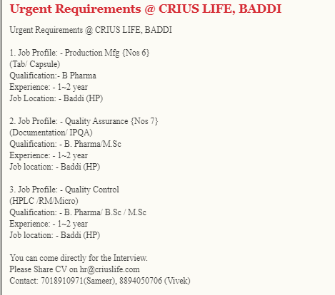 Crius Life Sciences Hiring B pharma B sc M sc for Production QA QC Urgent Recruitment