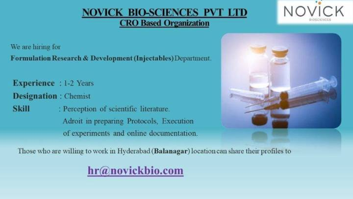 Novick Biosciences Recruitment for Formulation Research AND Development Injectables