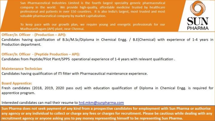 Sun Pharmaceutical Hiring Bsc Msc Diploma ITI Btech for Production Maintenance Apprentice