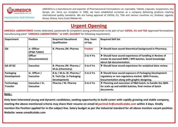 Umedica Laboratories QA QC Packaging Technolgy Transfer freshers And experience Openings