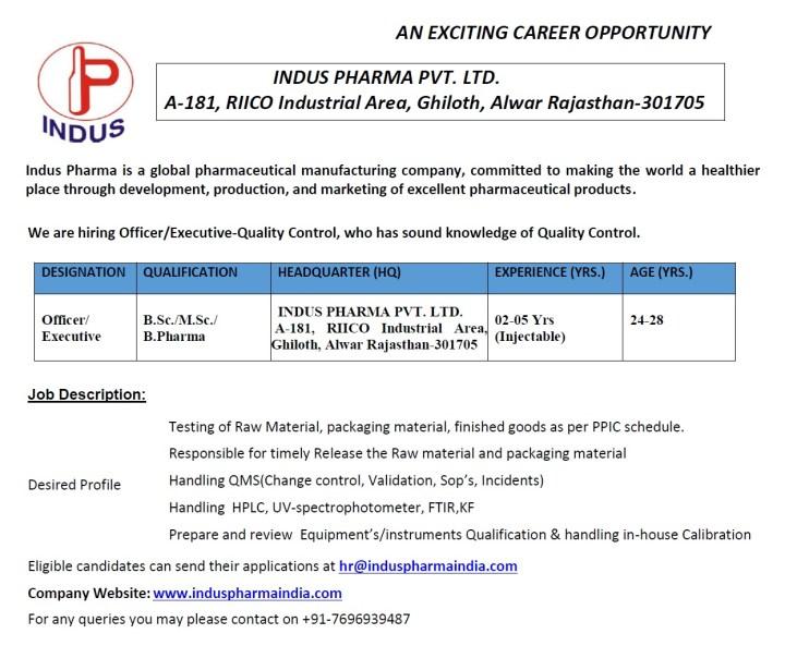 Indus Pharma Hiring Bsc Msc Bpharma for Quality Control IT