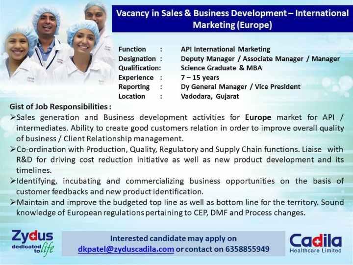 Zydus Cadila Recruitment Deputy Manager Associate Manager