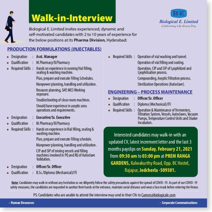Biological E Ltd Walk In 21st Feb 2021 for Production Engineering Process Maintenance