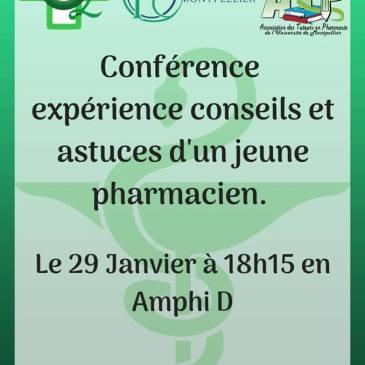 Conférence : expérience, conseils et astuces d'un jeune pharmacien