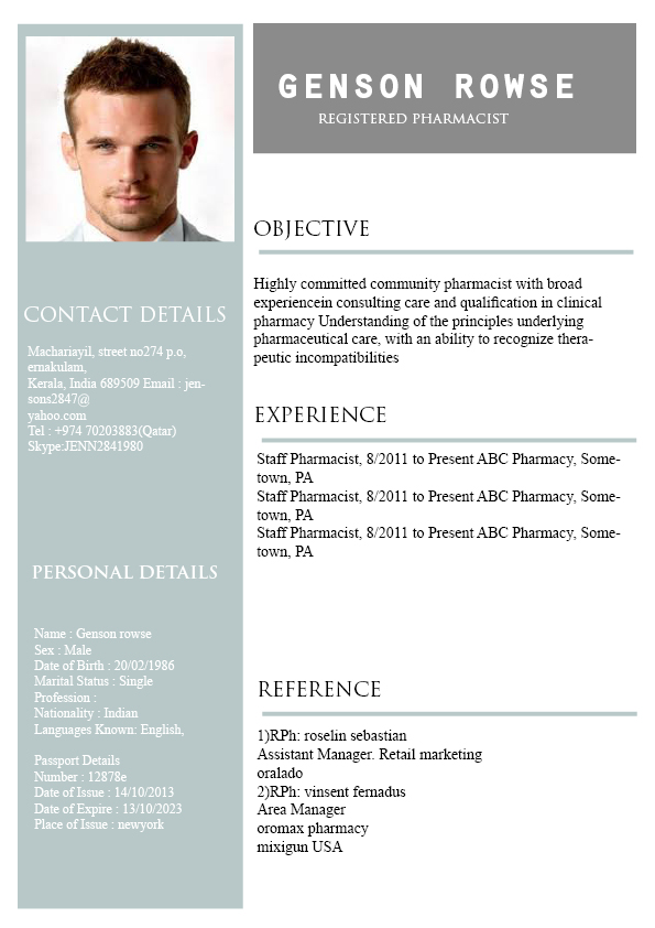 RESUME TEMPLATE 21 - PharmaQZ