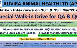Alivira Animal Health Ltd – Special Walk-In Drive for QA & QC on 18th & 19th Mar' 2021