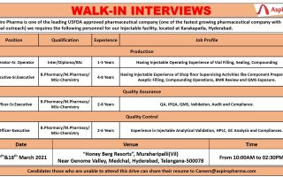 Aspiro Pharma – Walk-In Interviews for Multiple Positions in Production / QC / QA on 17th & 18th Mar' 2021