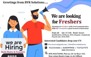 Urgent Openings for FRESHERS – Quality Control (Formulation Plant) @ Hyderabad
