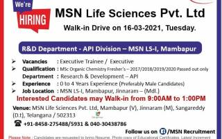 MSN Labs – Walk- In Drive for Fresher's & Experience – Research & Development Department on 16th Mar' 2021