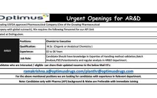 Optimus Pharma – Urgent Openings for AR& Department