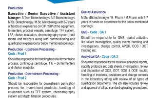 Zydus Cadila – Multiple Openings for Production / Downstream & Upstream Process / QA / QMS / Analytical QA
