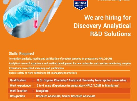 GVK Biosciences – Hiring for Analytical R&D / Discovery Synthesis R&D