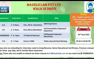 HAZELO LAB PVT. LTD – Walk-In Drive for QA / QC / Engineering / HR Departments on 3rd Apr' 2021
