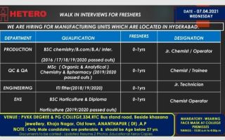 HETERO LABS – Walk-In Interviews for FRESHERS in Production / QC / QA / Engineering / EHS Departments on 7th Apr' 2021