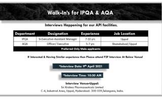 Sri Krishna Pharmaceuticals Ltd – Walk-In Interviews for IPQA / AQA on 9th Apr' 2021