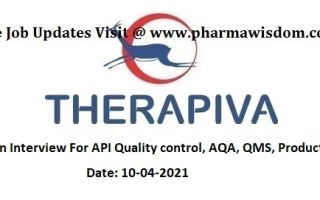 THERAPIVA PVT. LTD – Walk-In Interviews for Quality Control / AQA / QMS / Production on 10th Apr' 2021