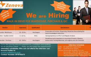 Zenova Bio Nutrition Pvt. Ltd – Walk-In Interviews for Freshers & Experienced in QC / Warehouse / Purchase on 10th Apr' 2021