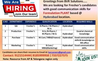 Freshers Openings in QA / Production / Purchase / Marketing – Formulation Plant @ Hyderabad