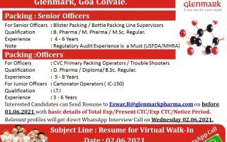 Glenmark Pharmaceuticals Ltd – Virtual Walk-In Interviews on 2nd June' 2021