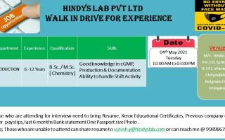 Hindys Lab Pvt. Ltd – Walk-In Interviews for Production on 4th May' 2021