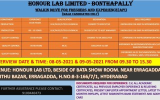 Honour Lab Limited – Walk-In Drive for Production / Quality Control on 8th & 9th May' 2021