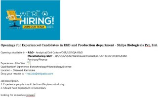 Shilpa Biologicals Pvt. Ltd – Urgent Openings for Freshers & Experienced in R&D / Production / QA / QCM / Warehouse / IT / EHS / EMD / Purchase / Finance