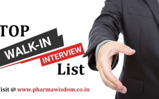SUNDAY TOP PHARMA WALK-IN INTERVIEWS LIST – 1st Aug' 2021