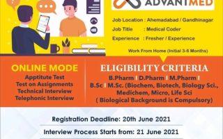 ADVANTMED INDIA LLP- Virtual Campus Drive for Fresher of D.Pharm, B.Pharm, M.Pharm, B.Sc, M.Sc, Life Science Graduates – Apply Now