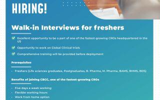 CBCC Global Research – Walk-Ins for Freshers (Life Sciences Graduates, Postgraduates, B.Pharm, M.Pharm, BAMS, BHMS, BDS) on 19th, 26th June / 3rd, 10th July' 2021