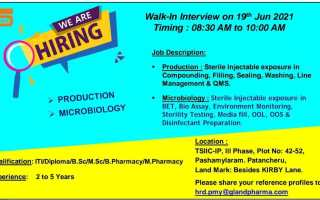 Gland Pharma Ltd – Walk-Ins for B.Sc, M.Sc, B.Pharm, M.Pharm, ITI, Diploma Candidates – Production / Microbiology on 19th June' 2021