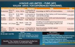 Honour Lab Limited – Walk-In Interviews for Production / QC / Safety / Purchase / QC – Service Engineer on 14th to 18th June' 2021 @ Pune
