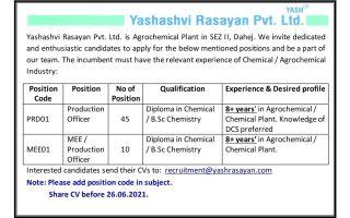 55 Multiple Openings @ Yashashvi Rasayan Pvt. Ltd