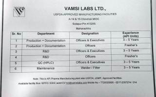 VAMSI LABS LTD – Vacancy for Freshers & Experienced in Production / R&D / QC / Maintenance – Apply Now