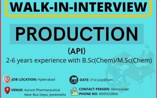 Aurore Life Sciences – Walk-In Interviews for Production on 31st July' 2021