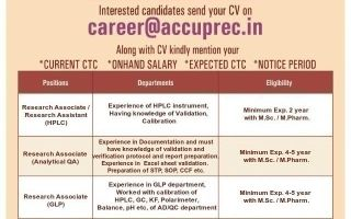 Accuprec Research Labs Pvt. Ltd.® – Telephonic Interview for HPLC / Analytical QA / GLP / Regulatory Affairs / QC / AD / Microbiology / Pharmacology Toxicology / Genotoxicology / IT / R&D – Apply Now