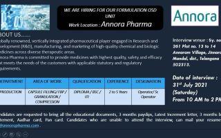 Annora Pharma – Walk-In Interviews on 31st July' 2021