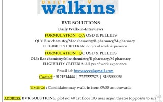 Daily Walk-Ins for B.Sc, M.Sc, B.Pharm, M.Pharm Experienced Candidates in QA / QC – OSD / Pellets | Apply Now