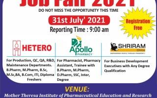 Hetero Labs / Apollo Pharmacy / Shriram Chits – Mega Campus Drive for FRESHERS on 31st July' 2021 @ MIPER, Kurnool