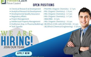 Formel Labs Pvt. Ltd – Urgent Openings for CR&D / AR&D / DQA / Regulatory Affairs / Project Management / IPM / Draftsman / Teck Transfer – Apply Now