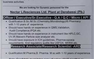 Nectar Lifesciences Ltd – Walk-In Interviews for QA / QC / Micro / ARD on 16th – 17th July' 2021