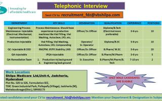 Shilpa Medicare Ltd – Telephonic Interviews for Multiple Positions in QC / QA / Production / Engineering Process Maintenance – Apply Now