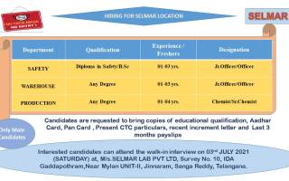 Selmar Lab Pvt. Ltd – Walk-In Interviews for Production / Warehouse / Safety on 3rd July' 2021