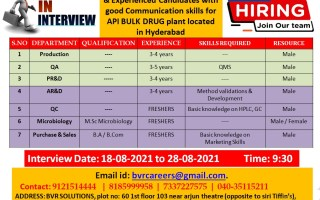 Walk-In Interviews for Freshers & Experienced in Production / QC / QA / PR&D / AR&D / Microbiology / Purchase & Sales on 18th to 28th Aug' 2021