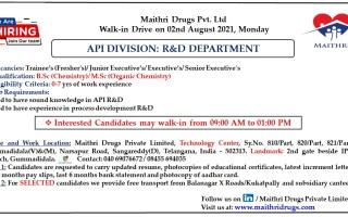 Maithri Drugs – Walk-Ins for Trainees (Freshers) / Junior Executives / Executives/ Sr. Executives on 2nd Aug' 2021