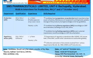 SMS Pharmaceuticals Ltd – Walk-Ins for Freshers & Experienced in Production / Regulatory Affairs on 1st – 2nd Oct' 2021