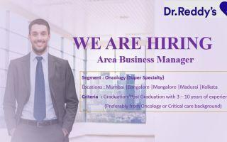 Dr. Reddy's – Hiring Area Business Manager – Any Graduates @ Mumbai, Bangalore, Mangalore, Madurai, Kolkata
