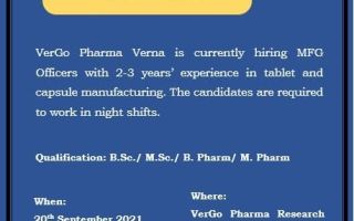 VerGo Pharma – Walk-Ins for B.Sc / M.Sc / B.Pharm / M.Pharm Candidates on 20th Sep' 2021