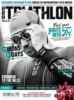 The cover of 220 triathlon magazine