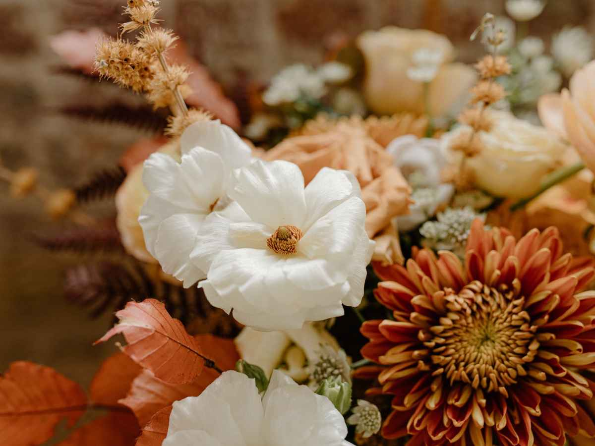 fragrant flowers in bouquet for event