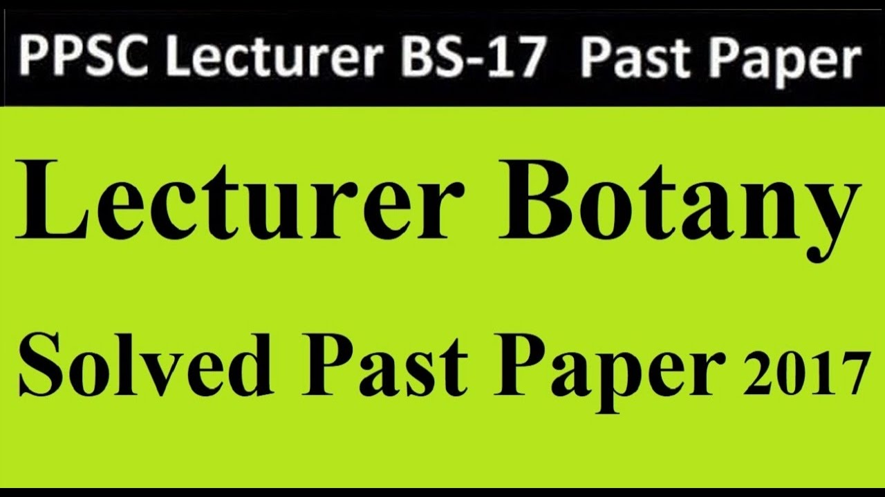 PPSC Botany Solved Past Papers MCQs